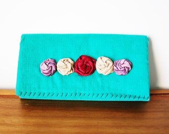 Teal Corduroy Trifold Fabric Wallet with Row of Rosettes
