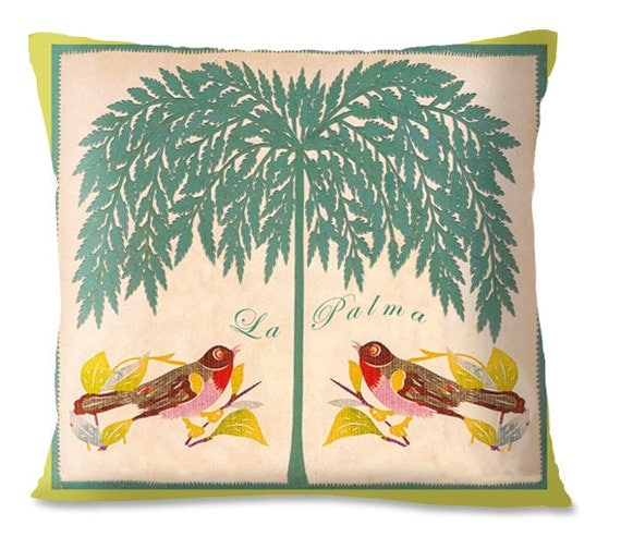 Accent Pillow PALM TREE Cover Decorative Birds Beach