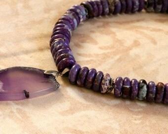Purple Agate Necklace with Purple Pendant