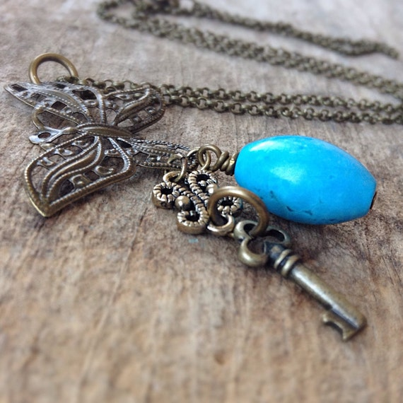 Turquoise Necklace, Woodland Necklace, Skeleton Key, Butterfly Charm Necklace, Bohemian Necklace, Bohemian Jewelry, Mother's Day