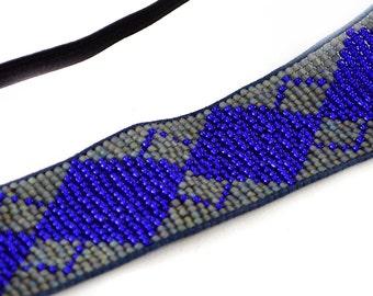 Beaded Elastic Headband, Tribal Ethnic Boho Beaded Stretch Hair Accessory in Cobalt Blue and Gray