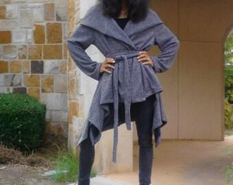 SALE Hoodie Coat / Asymmetrical Hoodie Cardigan