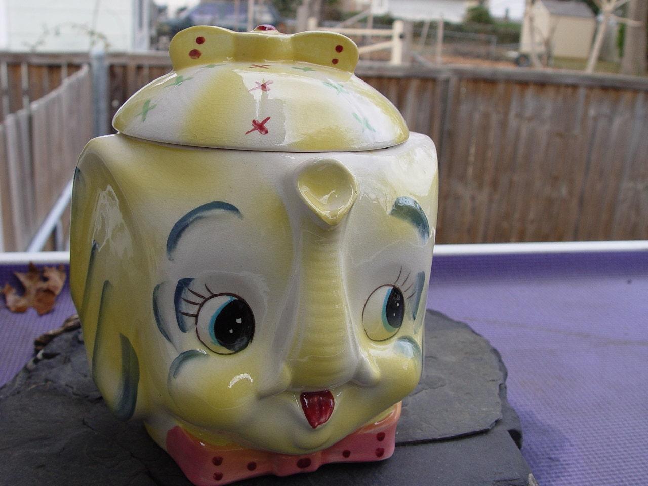 Vintage ceramic elephant cookie jar yellow raised trunk japan - Vintage elephant cookie jar ...