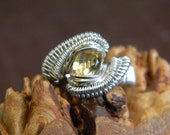 Hand Woven Sterling Silver Wire Wrapped Citrine Ring, Citrine, yellow gem stone, wrap ring, wire wrap ring, wire wrapped citrine, ring