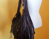 black and brown leather handbag, shoulder purse, with flower, rose, fringe and ruffle by Tuscada. Made to order