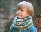 Wool cowl - chunky textured - from my handspun softest Merino wool yarn - unisex