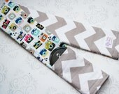 Reversible Camera Strap Cover - Cute Cameras with Gray Chevron - Photographer Gift - Riley Blake Snapshot in Multi