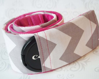 SALE!! Camera Strap Cover with Lens Cap Pocket - Padded Minky - Gray Chevron with Fuchsia - CLEARANCE