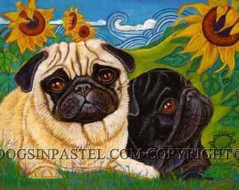 Pug art Black pug fawn pug art painting sunflowers ORIGINAL Dog Art pugs whimsical
