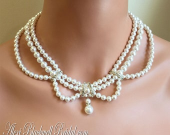 Victorian Pearl Necklace Earrings Set Vintage style 3 multi strands Swarovski pearls in Ivory or White and Gold or Silver wedding jewelry