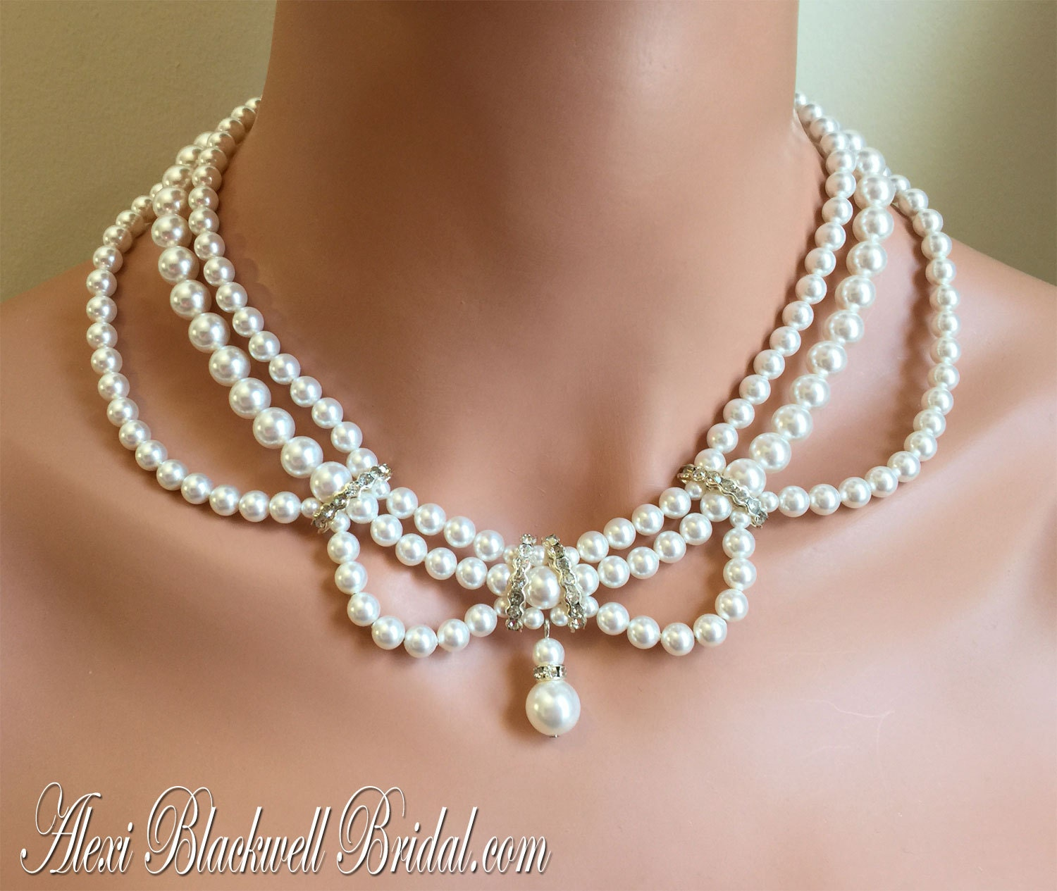 Pearl Necklace Styles: Victorian Pearl Necklace Earrings Set Vintage Style 3 Multi