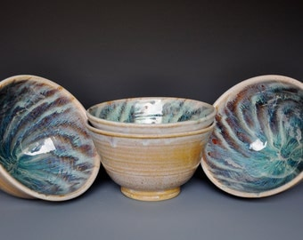 Set of 4 Pottery Salad Bowls Ceramic Blue Green Jade