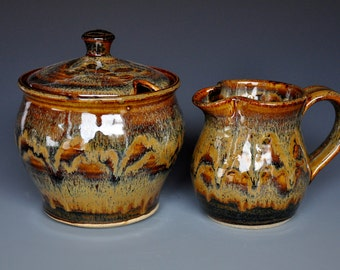 Burnt Sienna Creamer and Sugar Set. BC