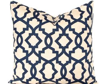 Euro Sham Navy Blue Pillow Covers, Linen Pillows, Trellis Pillow, Decorative Throw Pillow Covers Navy Taupe Linen Sofa Pillows Blue Cushion
