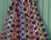 ON SALE Reusable Drawstring Bag-for Toys, Gifts, Crafting or Storage Crazy Wavy Multi Colored Geometric