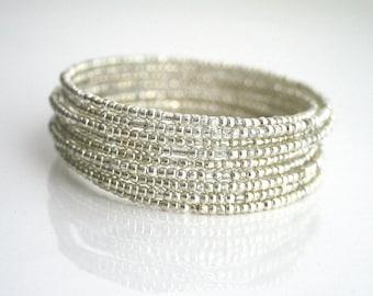 10 layer silver wrap bracelet - KATE