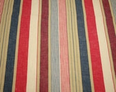 Red, White, Blue and Khaki Stripe Vintage European Ticking Fabric - 2 Yards Long by 36 Inches Wide