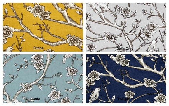 Dwell Studio Vintage Blossom - 50x84 Rod Pocket Panels, more lengths available - Jade Blue, Citrine Yellow, Dove Grey, Twilight