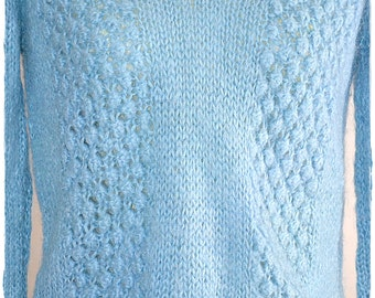 SALE Vintage Hand Knit Light Blue Mohair V Neck Fishermans Style Pull Over Sweater Italy Size M