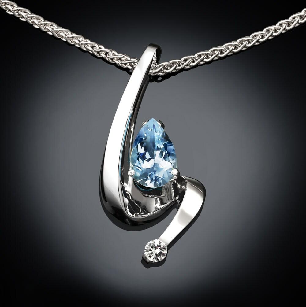 Aquamarine Necklaces: Aquamarine Necklace Aquamarine Pendant March Birthstone