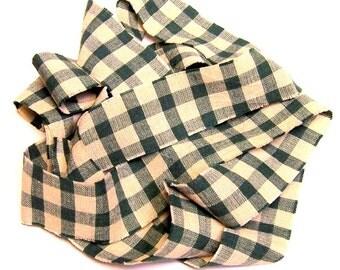 1 yard Homespun Cotton Fabric Ribbon Large Green Cream Check