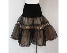 Pin-Up Chic 1950s Black Petticoat with Baby Pink Details - Size 5 to 6 - Crinoline - Ribbon - Sheer - Waist 22 to 26.5 - Deadstock - 36321-2