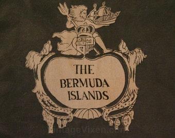 Bermuda Souvenir Scarf - Tourist - 1960s - 1970s - Map of Bermuda Islands - Sheer White Nylon - Tropical - Sailboat - Large Square - 43469