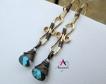 As seen on The Vampire Diaries Season Five, episode 20 Hand forged brass earrings