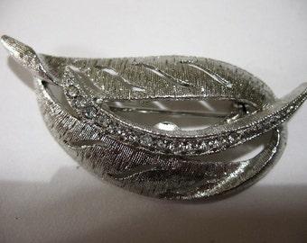 Vintage Silver Tone Leaf Brooch with Rhinestones