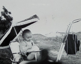 Vintage Photo - Baby Sitting in a Pram