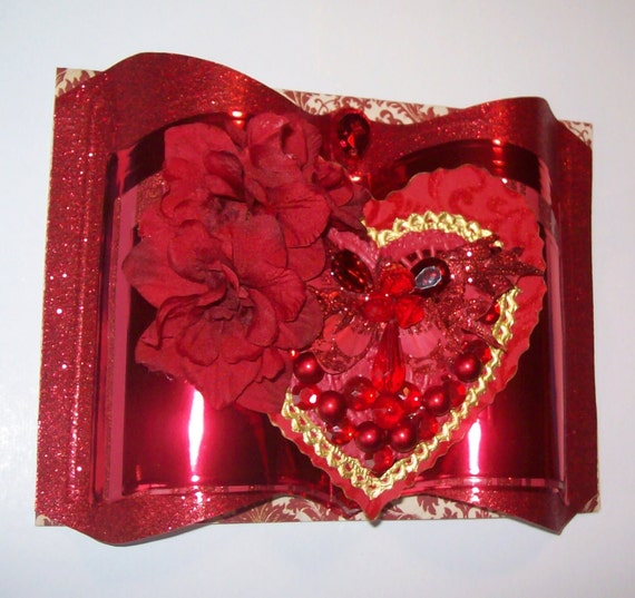 3D I Love You Card with Beautiful Heart, Flowers and Jewelry Pieces - Handmade