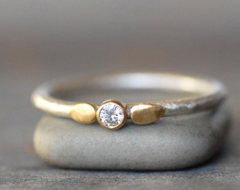 Diamond Lotus Ring - 18k Gold and Silver Stack Ring - Eco-Friendly Recycled