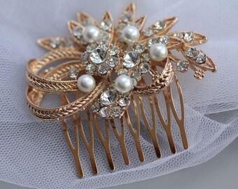 Rose Gold Bridal Hair Comb, Bridal Hair Clip, Vintage Wedding Hair Comb, Rose Gold Bridal Accessories, LEATH RG