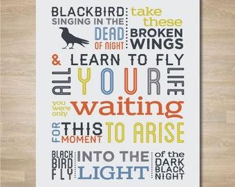 "The Beatles ""Blackbird"" Subway Art, Beatles Poster, Blackbird Lyrics, Beatles Quote"