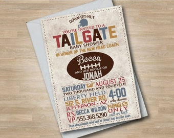 Football Baby Shower Invitation, Tailgate Baby Shower, Couples or Co-ed Baby Shower, Vintage Football Invite