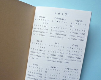 Traveler's Notebook, Regular Size, Month on 4 Pages, Ivory