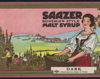 1910s Rare Antique Saazer Hops Malt Syrup Bohemian Girl Label 105 years old Chicago