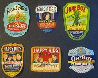 1930s Peanut Butter Pickle 80+ Year Old Original Jar Labels