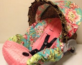Amy Butler Love Bliss Teal fabric & coral MINKY Infant Car Seat Cover
