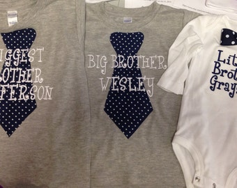 Navy Set of 3- Biggest Brother- Big Brother- Little Brother Matching Set