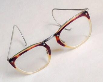 1950s 60s Tortoiseshell lucite star spectacles / 50s hornrim eye glasses