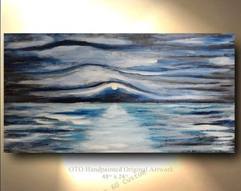 "Made to Order 72"" XL Large Ocean Painting Abstract Art Landscape sunset painting Free shipping Modern Contemporary acrylic Painting by OTO"