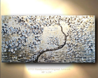 Painting on Canvas Big Large Gold Brown Black White Textured Acrylic Tree Abstract Art Canvas oil Wall Decor Artwork Impasto Oto T Jenkins