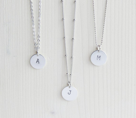 Silver Initial Necklace | Initial Necklace | Silver Monogram Necklace | Layering Necklace | Personalized Necklace | Minimal Initial Necklace
