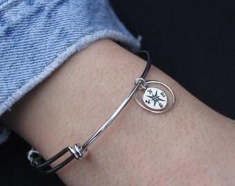 Compass Bangle Bracelet - Celestial Bracelet, Charm Bracelet, Stacking Jewelry, Graduation Bracelet, Journey Gift