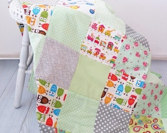 Homemade quilt , personalized baby quilt , baby boy bedding , owl quilt , personalized baby blankets , baby quilts for sale