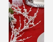 Artificial Flowers - 6 Foot CREAM WHITE Pearl Berry Garland - Wedding Crowns, Head Wreaths