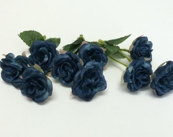 Artificial Flowers - Nine Mini Roses in Deep Blue - Small Flowers, Miniature Roses on Short Stems