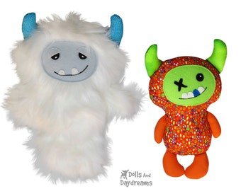 Yeti Monster Sewing Pattern PDF - Double Pack - Softie Plush Toy DIY Quick Easy