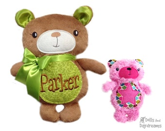 Teddy Embroidery Machine ITH Pattern Memory Bear Stuffie Plush Personilized Monogramed DIY Toy Quick Easy